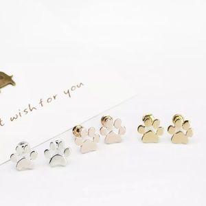 3 for $15 gold paw print stud earrings
